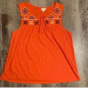 NWOT Caslon Embroidered Sleeveless Tunic Tassels L